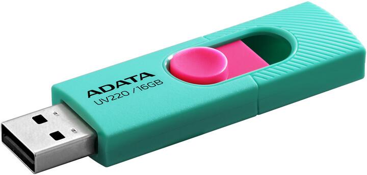 ADATA UV220 16GB, zeleno/růžová