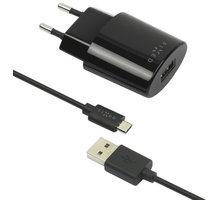 FIXED síťová nabíječka s odnímatelným micro USB kabelem, 2,4A, černá - FIXC-UM-BK