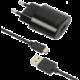 FIXED síťová nabíječka s odnímatelným micro USB kabelem, 2,4A, černá