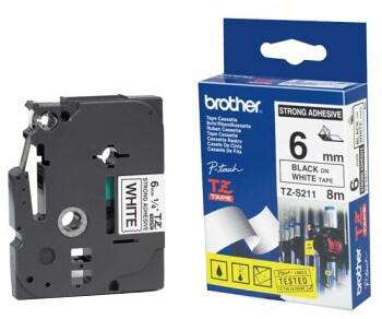 Brother TZE-S221, bílá/černá, 9mm