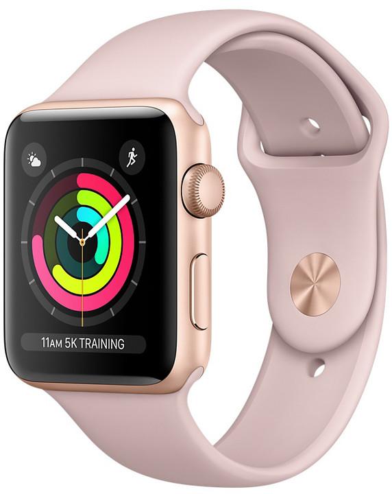 Apple Watch series 3 38mm pouzdro zlatá/pískově růžový řemínek