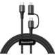 BASEUS kabel Twins 2v1, USB-C - USB-C, 60W + Lightning, M/M, nabíjecí, datový, 20W, 1m, černá