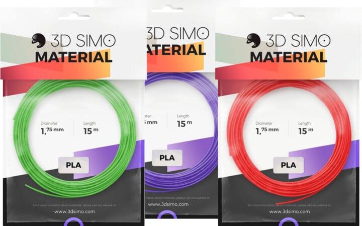 3Dsimo materiál - PLA II (červená, fialová, zelená)