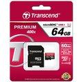 Transcend Micro SDXC Premium 400x 64GB 60MB/s UHS-I + SD adaptér