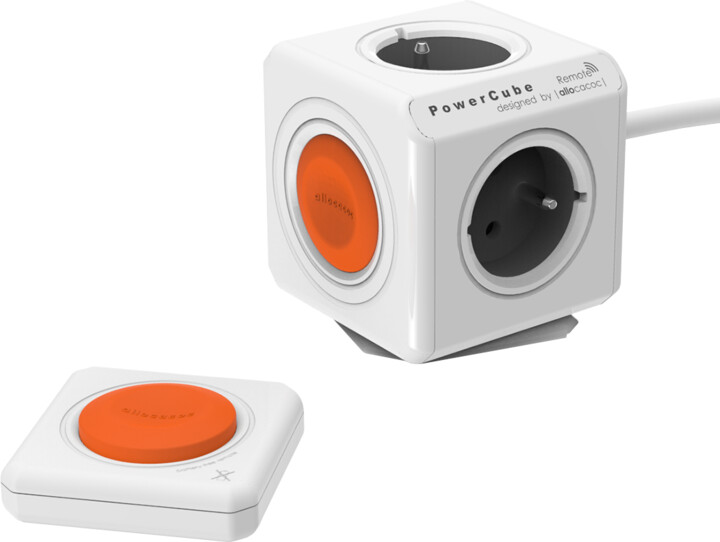 PowerCube EXTENDED REMOTE set multifunkční zásuvkový systém, 4x zásuvka, 1,5m, šedá/oranžová