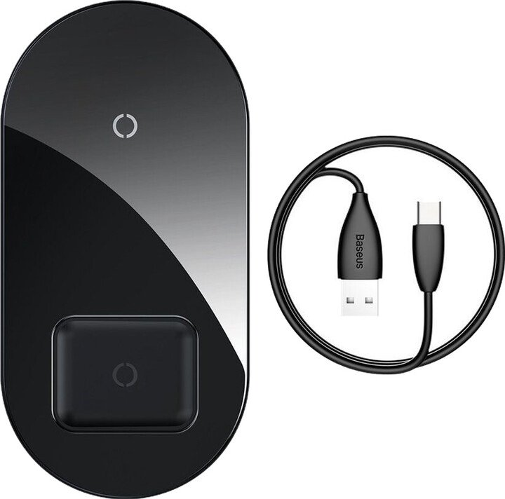 BASEUS Simple 2-In-1 Wireless Charger Turbo Edition 24W (With 12V Charger) Qi, černá
