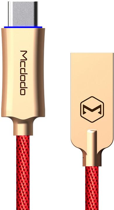 Mcdodo Knight rychlonabíjecí datový kabel USB-C s inteligentním vypnutím napájení, 1m, červená