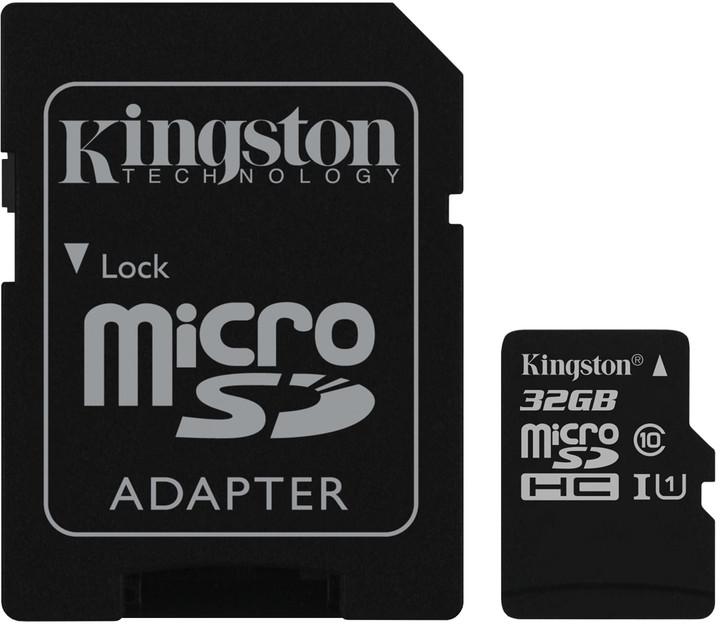 Kingston Micro SDHC 32GB Class 10 UHS-I + SD adaptér