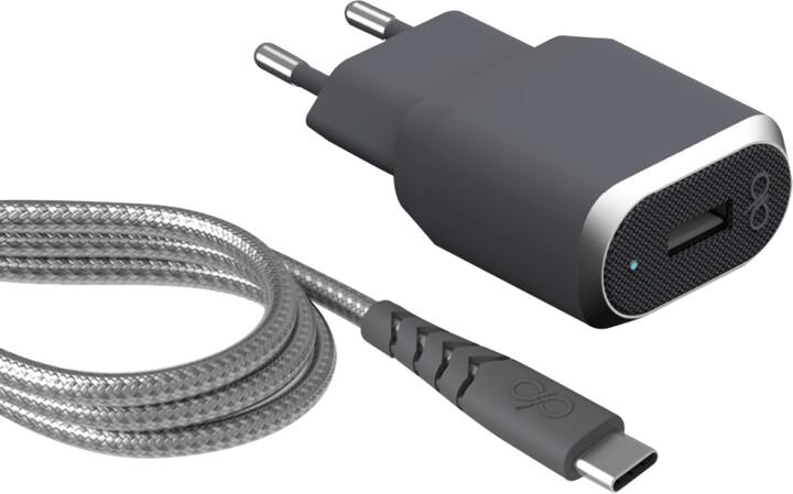BigBen Force Power USB nabíječka + kabel USB-C/USB-A, šedá