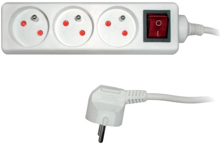 Sencor prodlužovací přívod, 3 zásuvky, s vypínačem, 2m, bílá