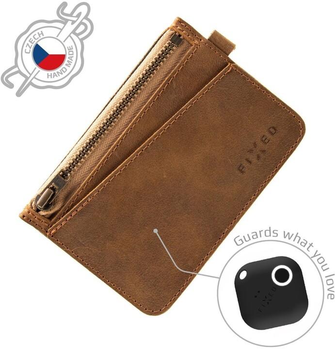 FIXED peněženka Smile Coins se smart trackerem, hnědá