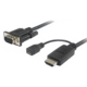 PremiumCord převodník HDMI na VGA s napájecím micro USB konektorem, černá