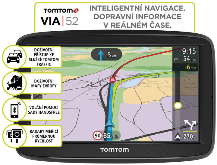 TOMTOM VIA 52 Europe (45 zemí) LIFETIME mapy