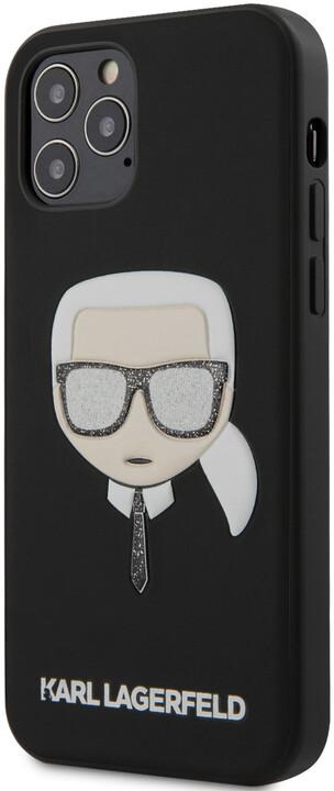 """KARL LAGERFELD ochranný kryt Glitter Head pro iPhone 12/ 12 Pro (6.1""""), černá"""