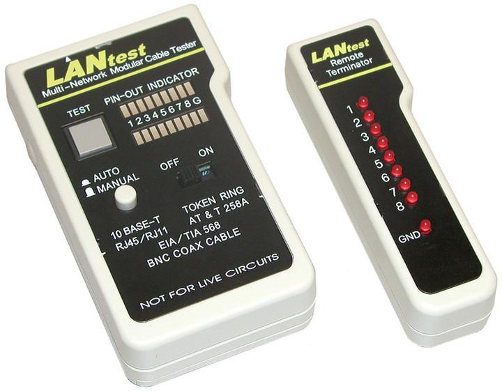 Solarix LANtest - měřící přístroj k měření správnosti zapojení RJ45, BNC, RJ12, RJ11