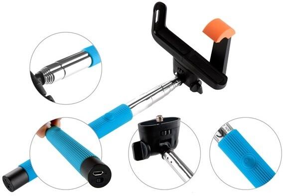 GoGEN 2 Selfie tyč teleskopická, bluetooth, modrá