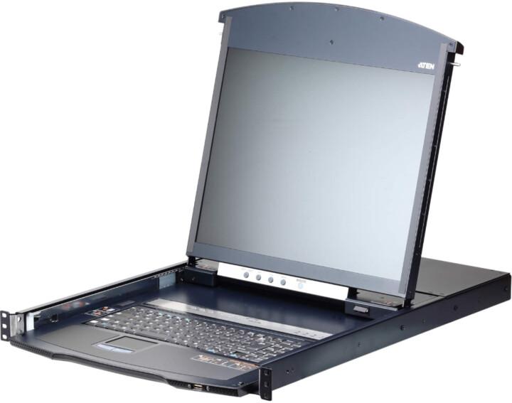 """ATEN KL1108VN - 8-portový KVM switch (USB i DVI/VGA) přes IP, 100/1000 19"""" LCD, UK klávesnice"""