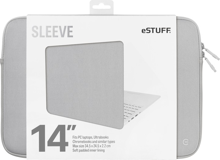 eSTUFF Ultrabooks, Chromebooks 14'' Sleeve - Fits PC Laptops, grey