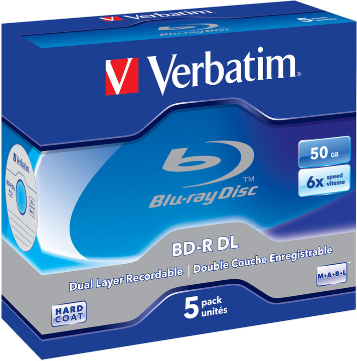 Verbatim BD-R DL, 6x, 50GB, 5 ks, jewel