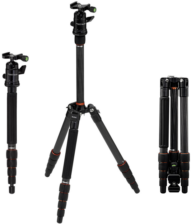 Rollei Compact Traveler No 1 Carbon/ Zátěž 8kg/ Vytažený 142 cm/ Karbon/ Černý