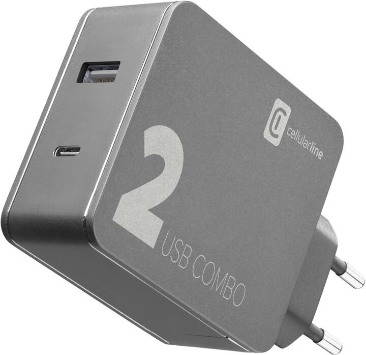 CELLULARLINE síťová nabíječka Multipower 2 Combo, USB-C, USB, PD, 42W, černá
