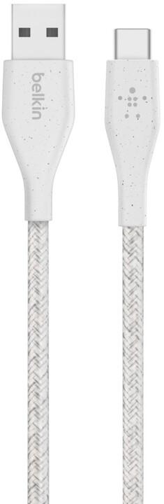 Belkin kabel DuraTek USB-A - USB-C, M/M, opletený, s řemínekm, 1.2m, bílá