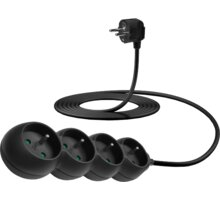CONNECT IT prodlužovací kabel 230 V, 4 zásuvky, 3 m, bez vypínače, černá - CES-1326-BK