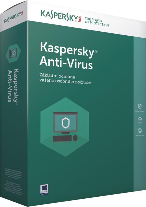 Kaspersky Anti-Virus 2017 CZ, 3 zařízení, 12 měsíců, obnovení licence