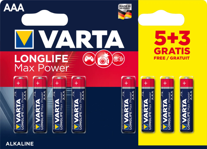 VARTA baterie Longlife Max Power 5+3 AAA