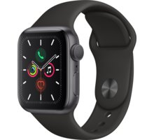 Apple Watch Series 5 GPS, 40mm Space Grey Aluminium Case with Black Sport Band - MWV82HC/A