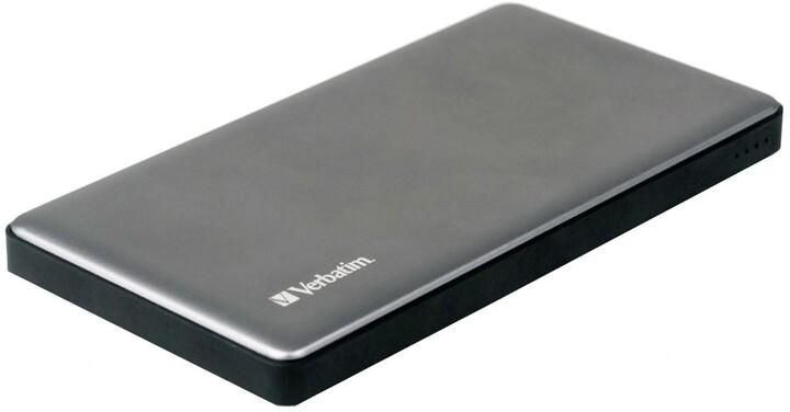 Verbatim powerbanka 10000mAh, 2x USB-A + USB-C, PD, QC 3.0, kovová, stříbrná