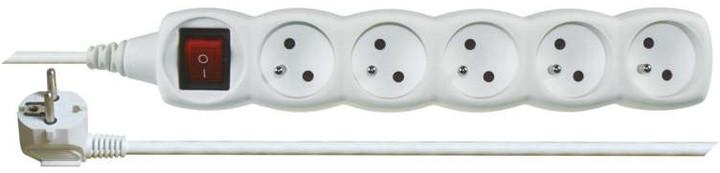 Emos prodlužovací kabel s vypínačem – 5 zásuvek, 5m, bílá