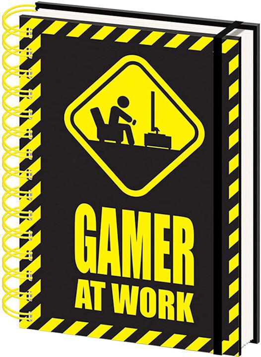 Zápisník Gaming - Gamer At Work, kroužková vazba (A5)