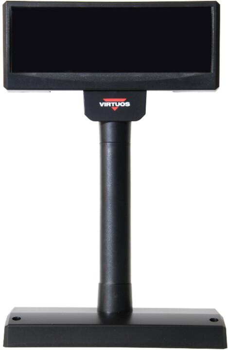 Virtuos FV-2029M - VFD zákaznicky displej, 2x20 9mm, serial (RS-232), 12V, černá