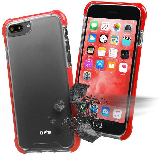 SBS Antishock pouzdro pro iPhone 8/7 Plus, transparentní červená