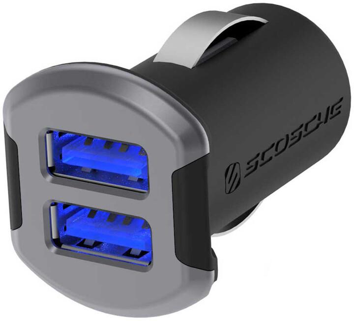 Scosche reVolt dual dvojitá autonabíječka USB 2x 2,4A černo-šedá