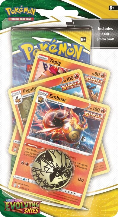 Karetní hra Pokémon TCG: Sword and Shield Evolving Skies - Premium Checklane Blister Emboar