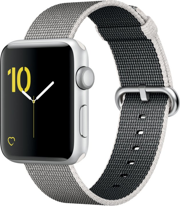 Apple Watch 2 42mm Silver Aluminium Case with Pearl Woven Nylon Band