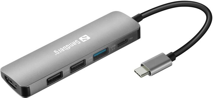 Sandberg dokovací stanice USB-C + PD 100W