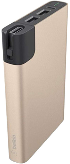 Belkin MIXIT Power RockStar 10000, 2xUSB + 1x Lightning & 1 Micro-USB kabel - zlatý