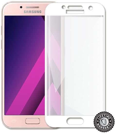 Screenshield temperované sklo na displej pro Galaxy A3 2017 (A320), kovový rámeček, bílá
