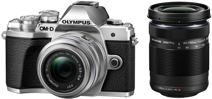 Olympus E-M10 Mark III + 14-42mm II R + 40-150mm R, stříbrná/stříbrná/černá