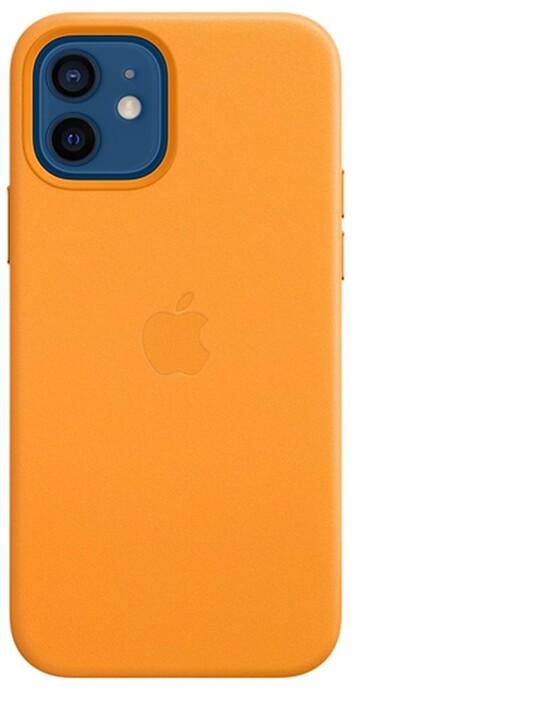 Apple kožený kryt s MagSafe pro iPhone 12/12 Pro, oranžová