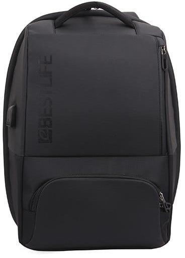 "BESTLIFE batoh 15.6"" Security Features + USB konektorem, černá"