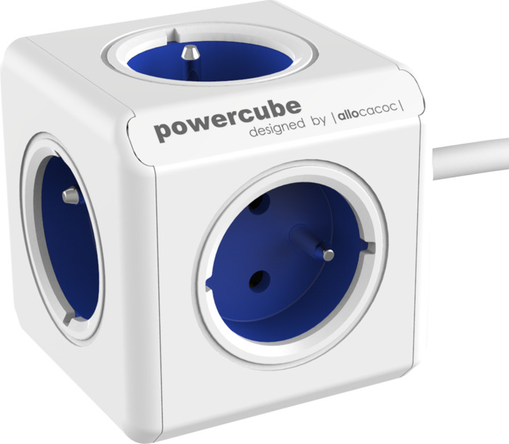 PowerCube EXTENDED prodlužovací přívod 1,5m - 5ti zásuvka, modrá