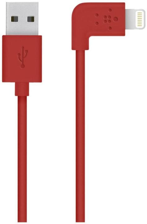 Belkin Mixit s Lightning konektorem, 90°, 1.2m, červená