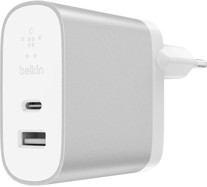 Belkin USB-C + USB-A 230V nabíječka 5V/3A,27W, Power Delivery, stříbrná