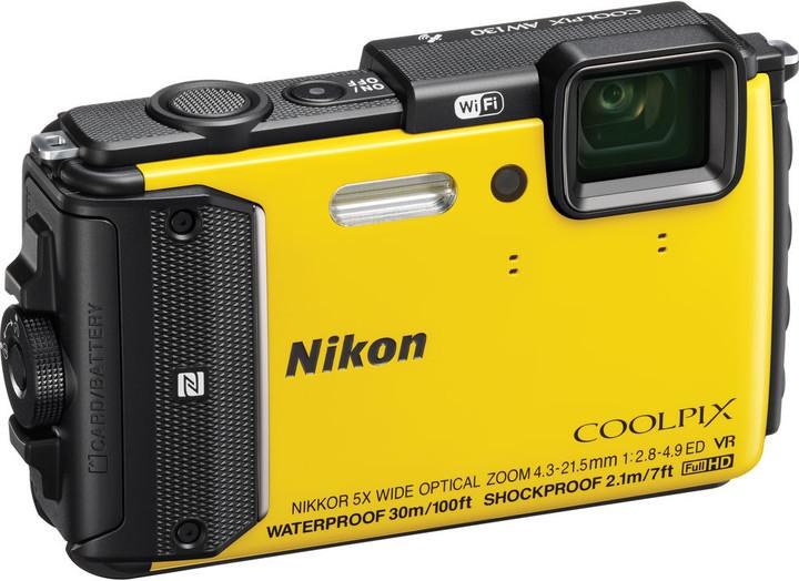 Nikon Coolpix AW130, žlutá