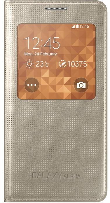 Samsung S-view EF-CG850B flipové pouzdro pro Galaxy Alpha (SM-G850), zlatá