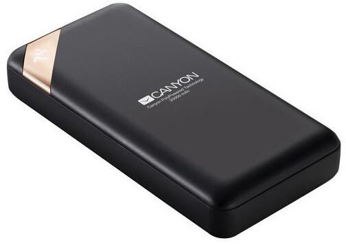 Canyon powerbanka 20000 mAh Li-poly, Smart IC, displej s indikací nabití, černá